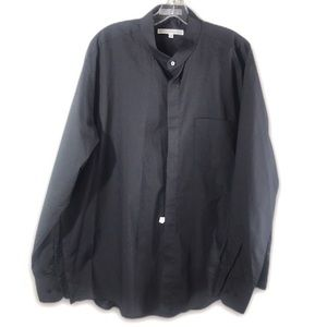 4/$20 DIAMANTÉ Men Black Button Collarless Sz 17.5
